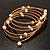 Glass Beaded Freshwater Pearl Charm Wrap Bangle Bracelet (6mm) - view 6