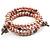 3 Strand Pale Purple Freshwater Pearl Charm Wrap Bangle Bracelet (6mm) - view 3