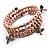 3 Strand Pale Purple Freshwater Pearl Charm Wrap Bangle Bracelet (6mm) - view 2