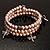 3 Strand Pale Purple Freshwater Pearl Charm Wrap Bangle Bracelet (6mm) - view 5