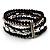 5-Strand Beaded Acrylic Flex Bracelet (Black&Silver)