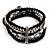 5-Strand Beaded Acrylic Flex Bracelet (Black&Silver) - view 2