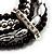 5-Strand Beaded Acrylic Flex Bracelet (Black&Silver) - view 4
