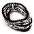 5-Strand Beaded Acrylic Flex Bracelet (Black&Silver) - view 3