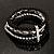 5-Strand Beaded Acrylic Flex Bracelet (Black&Silver) - view 5