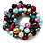 Chunky Multicoloured Simulated Glass Pearl & Shell Flex Bracelet - 17cm Length