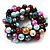 Chunky Multicoloured Simulated Glass Pearl & Shell Flex Bracelet - 17cm Length - view 3