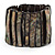 Wide Slate Black Shell Stretch Bracelet (Stripes)