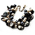 Black & White Simulated Pearl Bead & Shell Charm Bracelet (Silver Tone) - 15cm Long/ 7cm Ext