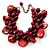 Red Simulated Pearl Bead & Shell Charm Bracelet (Silver Tone) - 15cm Long/ 7cm Ext