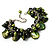 Olive Green Simulated Pearl Bead & Shell Charm Bracelet (Silver Tone) - view 2