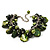 Olive Green Simulated Pearl Bead & Shell Charm Bracelet (Silver Tone) - view 3