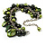 Olive Green Simulated Pearl Bead & Shell Charm Bracelet (Silver Tone) - view 6