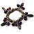 Silver Tone Link Bead Charm Flex Bracelet (Purple) - view 5