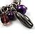 Silver Tone Link Bead Charm Flex Bracelet (Purple) - view 2