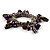 Silver Tone Link Bead Charm Flex Bracelet (Purple) - view 4
