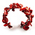Coral Red Floral Shell & Simulated Pearl Cuff Bracelet (Silver Tone) - view 4