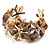Antique White Floral Shell & Simulated Pearl Cuff Bracelet (Silver Tone) - view 6