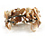 Antique White Floral Shell & Simulated Pearl Cuff Bracelet (Silver Tone) - view 7