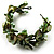 Olive Green Floral Shell & Simulated Pearl Cuff Bracelet - view 4