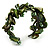 Olive Green Floral Shell & Simulated Pearl Cuff Bracelet - view 5