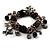 Black Vintage Charm Flex Bracelet (Burnished Silver Tone) - view 5