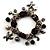 Black Vintage Charm Flex Bracelet (Burnished Silver Tone)
