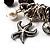 Black Vintage Charm Flex Bracelet (Burnished Silver Tone) - view 2