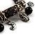 Black Vintage Charm Flex Bracelet (Burnished Silver Tone) - view 3