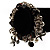 Black Vintage Charm Flex Bracelet (Burnished Silver Tone) - view 4