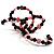 Acrylic & Shell Bead Coil Flex Bangle Bracelet (Black & Pink) - view 5