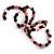 Acrylic & Shell Bead Coil Flex Bangle Bracelet (Black & Pink) - view 3