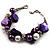 Faux Pearl & Shell - Composite Silver Tone Link Bracelet ( Purple, Violet & White) - 17cm Long/ 4cm Ext