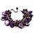 Deep Purple Simulated Pearl Bead & Shell Charm Bracelet (Silver Tone) - view 2