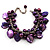Deep Purple Simulated Pearl Bead & Shell Charm Bracelet (Silver Tone) - view 1