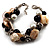 Faux Pearl & Shell - Composite Silver Tone Link Bracelet ( Antique White & Black)