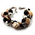 Faux Pearl & Shell - Composite Silver Tone Link Bracelet ( Antique White & Black) - view 7