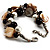 Faux Pearl & Shell - Composite Silver Tone Link Bracelet ( Antique White & Black) - view 3