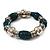 Teal Green Ceramic & Metallic Silver Acrylic Bead Flex Bracelet - 18cm Length