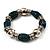 Teal Green Ceramic & Metallic Silver Acrylic Bead Flex Bracelet - 18cm Length - view 2