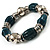 Teal Green Ceramic & Metallic Silver Acrylic Bead Flex Bracelet - 18cm Length - view 3