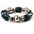 Teal Green Ceramic & Metallic Silver Acrylic Bead Flex Bracelet - 18cm Length - view 4