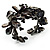 Black Floral Shell & Simulated Pearl Cuff Bracelet - view 2