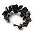 Black Floral Shell & Simulated Pearl Cuff Bracelet - view 6