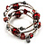 Silver-Tone Beaded Multistrand Flex Bracelet (Red) - view 7