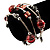 Silver-Tone Beaded Multistrand Flex Bracelet (Red) - view 2