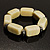 Vintage Antique White Ceramic Nugget Flex Bracelet (Antique Silver Tone) - view 5