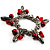 Silver Tone Link Bead Charm Flex Bracelet (Red) - view 4