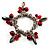 Silver Tone Link Bead Charm Flex Bracelet (Red) - view 5