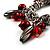 Silver Tone Link Bead Charm Flex Bracelet (Red) - view 3
